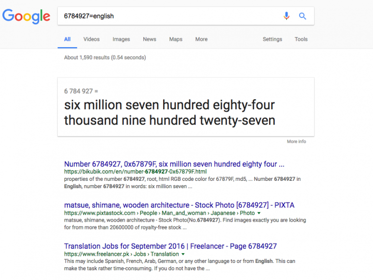 english google