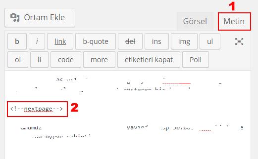 nextpage - Wordpress'te uzun yazıları sayfalara ayırma